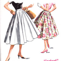 """1950s Misses Rockabilly Swing Skirt 10 Gore McCall's 4064 Womens Vintage Sewing Pattern Waist 28"""""""