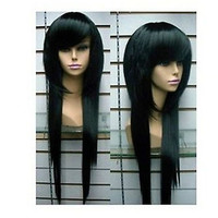 100% New Synthetic Hair Long Black Straight wigs Party Cosplay Full wig