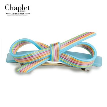 Chaplet High Quality Rainbow Ladies Hair Accessories Barrettes Colorful Girls Hair Clips Acetate Spring Hairpin Free Shipping