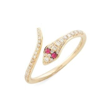 EF COLLECTION Diamond & Ruby Snake Ring | Nordstrom