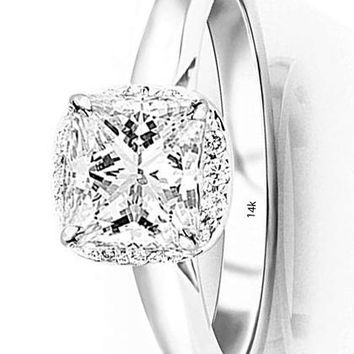 d.0.85 Carat 14K White Gold Classic Prong Set Halo Style GIA Certified Princess Cut Diamond Engagement Ring (0.75 Ct I Color VS1 Clarity Center Stone)