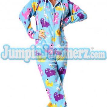 Blue Baby Dinos Drop Seat Adult Pajamas - Drop Seat Hoodie - Pajamas Footie PJs Onesuits One Piece Adult Pajamas - JumpinJammerz.com