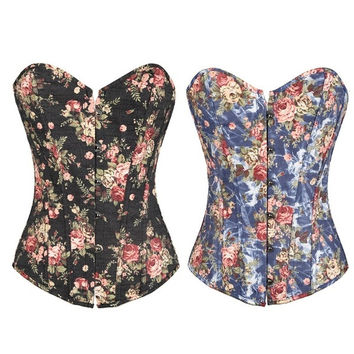 DORA'S SECRET Women's Floral Denim Overbust Lace up Corset
