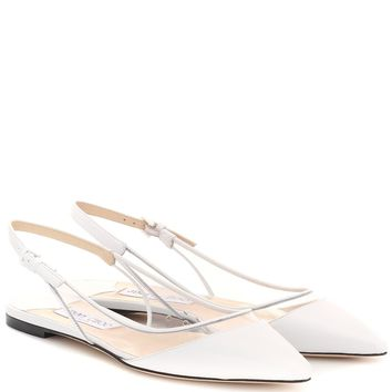 Erin PVC and leather slingback flats