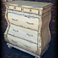 Bombay desk, baroque desk, Distressed Secretary Desk, shabby chic desk, french country desk! Secretary desk, painted desk, reproduction