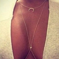 New Women Gold Necklaces and Body Chain Sexy Rhinestone Moon Belly Chains | Beach Body Jewelry