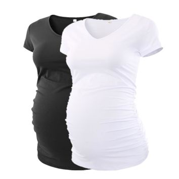 Summer Maternity Pregnancy Clothes Classic Side Ruched T-shirt Pregnant Tops Mama Pregnancy Clothes V-neck Summer Top
