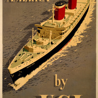 Europe To America By USL Vintage Travel Poster