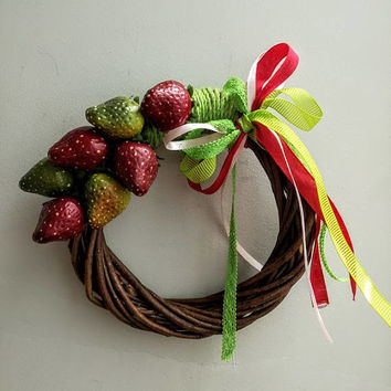 Strawberry wreath, summer wreath of red and green strawberries, life size, polyester strawberries on wicker wreath with lace ribbon