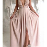 2016 New Fashion Blush Pink Split Prom Dresses With Spaghetti Straps Backless Prom Dress Evening Formal Gowns from meetdresse