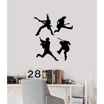 Vinyl Wall Decal Rock Stars Silhouette Guitar Players Pop Band Music Stickers Mural (ig5406)