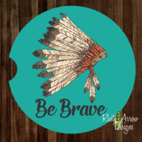 Headdress Be Brave Sandstone Car Coaster