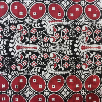 "Natural Dyed Red Handstamped Indonesia Batik Fabric, ""Kawung Gatra"" Motif, for Batik Sarong, Sewing, Dress, Kimono, Bag, Purse, Wall Hanging"