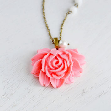 Pink Rose Flower Necklace,Pearl,Bridesmaid Gift,Lotus,Flower Girls Necklace,Pink Coral Flower Necklace,Wedding Jewelry,Long Necklace