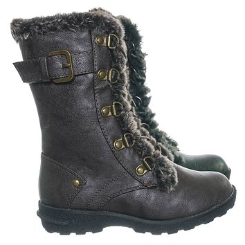 Aura20K Girls Shearling Combat Boots - Children Kids Faux fur Military Tactical
