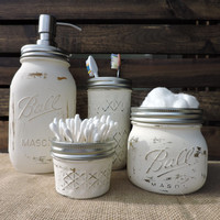 Custom Mason Jar Bathroom Set, Mason Jar Soap Dispenser, Mason Jar Bathroom Set, Chalk Painted Mason Jars, Custom Mason Jar Sets, Bath Set