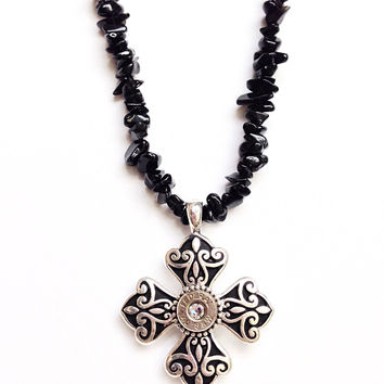Bullet jewelry. Cross necklace with bullet casing.