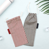 Stripe small drawstring pouch