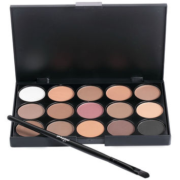 15 Colors Natural Organizer Eyeshadow Palette with Brush