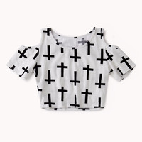 Cutout Cross Print Crop Top