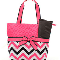Personalized Pink/Black/white Chevron Diaper bag/bag/tote/carryall