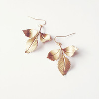 Gold Leaf Earrings - Golden Leaves - Boho - Bohemian - Rustic - Cute Adorable Elegant - Romantic - Whimsical - Dreamy - Woodland Collection