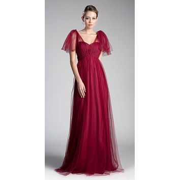 Tulle Infinity Style Long Bridesmaid Dress Burgundy