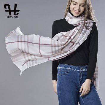 FURTALK Unisex Spring Lamb Wool Scarf Plaid Warm Soft Elegant Wrap Scarf Camel White Black Check Plaid Scotland Wool Wrap