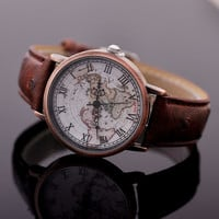 Extraordinary Surface Quartz Brown Map Watch