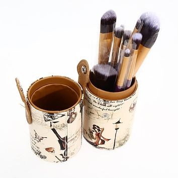 Brand New Makeup Cosmetic Craft Tool Brush Pen Holder PU Leather Cup Container For Home Storage