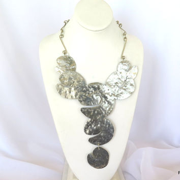 Large Hammered Silver Neck Piece, Artisan Crafted Statement Necklace