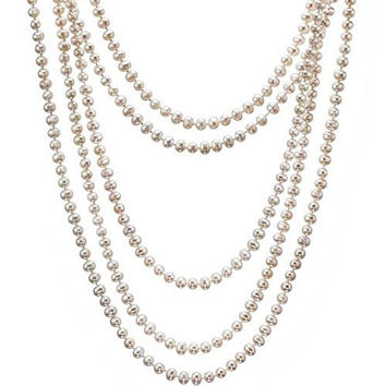 Fresh Water Pearl, 100 inch Long and Wrap around neck Necklace in 7/8 mm Round Pearls