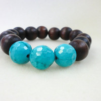 Disco Faceted Turquoise and wood