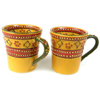 Set of 2 Hand-painted Flared Mugs in Red - Encantada