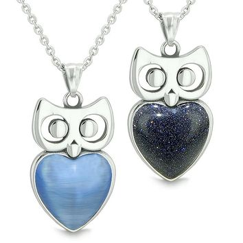 Amulets Owl Cute Hearts Love Couples or Best Friends Star Blue Cats Eye Blue Goldstone Necklaces