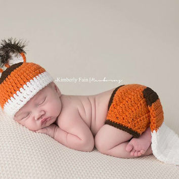 Fox Hat and Diaper Cover with Tail, Great Shower Gift, Newborn to 6 Months, Photography Prop, Photo Prop
