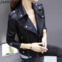 JUANTALK Fashion Brand Leather Jackets Women Rivet Zipper Motorcycle Faux Soft Leather Coat Female Paragraph Lapel PU Jacket