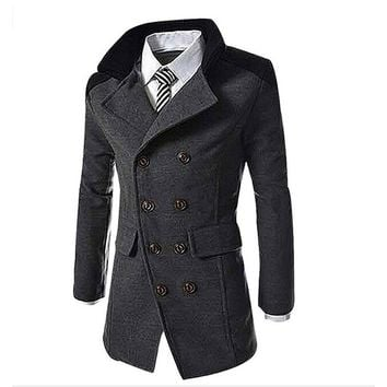 2017 Fashion Men's Autumn Winter Coat Turn-down Collar Wool Blend Men Pea Windbreaker Double Breasted Winter Overcoat Outerw