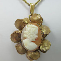 """Vintage MIRIAM HASKELL Cameo Necklace, Gold Tone, 14.5"""""""