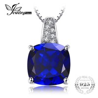 JewelryPalace Cushion 4.9ct Created Blue Sapphire Solitaire Pendant 925 Sterling Silver Pendant Fine Jewelry Not Include Chain