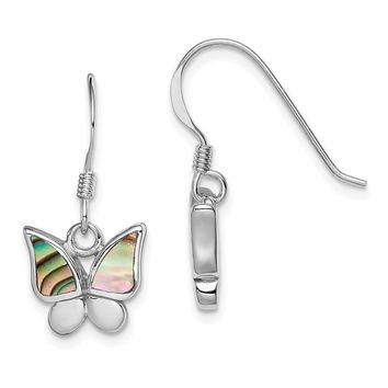 925 Sterling Silver Rhodium-plated Polished Abalone Butterfly Earrings