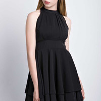 Black High Waist Halter Neck Pleated Mini Dress