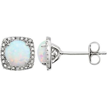 Sterling Silver Opal & .015 CTW Diamond Halo-Style Earrings