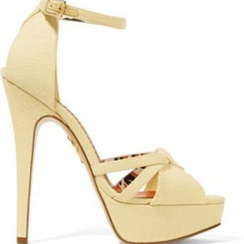 Iola linen platform sandals | CHARLOTTE OLYMPIA | Sale up to 70% off | THE OUTNET