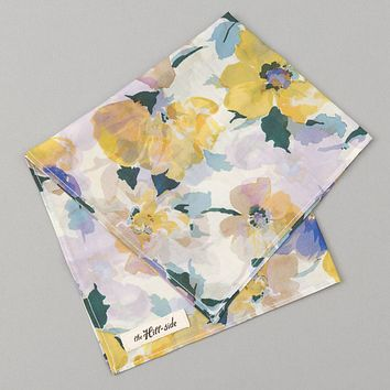 Lightweight Watercolor Floral Print Pocket Square, White