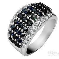 925 Sterling Silver Inlaid Natural Sapphire Ring