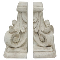 Pair of Scroll Bookends, White, Bookends