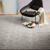 Radiating Ovals Wool Rug - Platinum