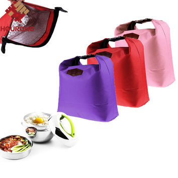1 Pcs 27.5*25*9.5cm Thermal Cooler Insulated Lunch Bag Waterproof Lunch Carry Nylon Lunch Bag For Office For Tour