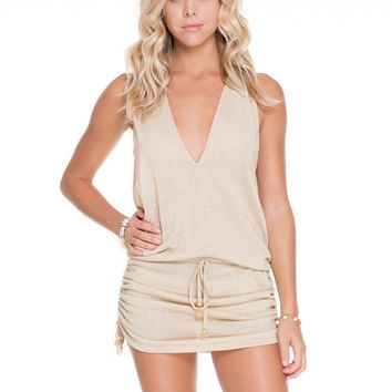 Luli Fama Gold Rush T-Back Mini Dress